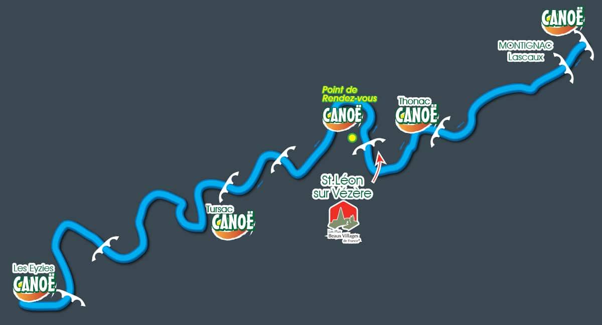 Carte des parcours canoe-kayak sur la Vézère